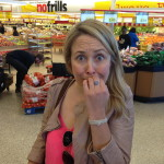 Andrea horrified to be a No Frills.  We saved 75% on chickpeas!